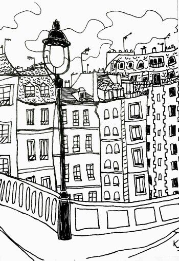 my view with a happy hour panache in hand in Paris, France, ink by Katie Jurkiewicz