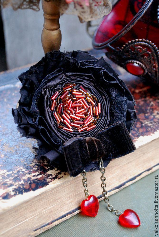 """Купить Брошь """" Fire """" - брошь, текстильная брошь, бохо-брошь, роза-брошь"""