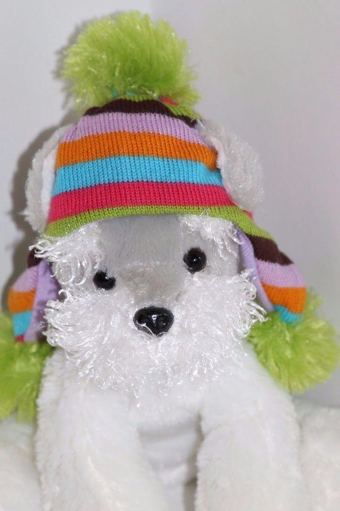 "Schnauzer Plush Puppy Dog 8"" Maurices Gray White Stuffed Animal Hat 2010 Shleby…"