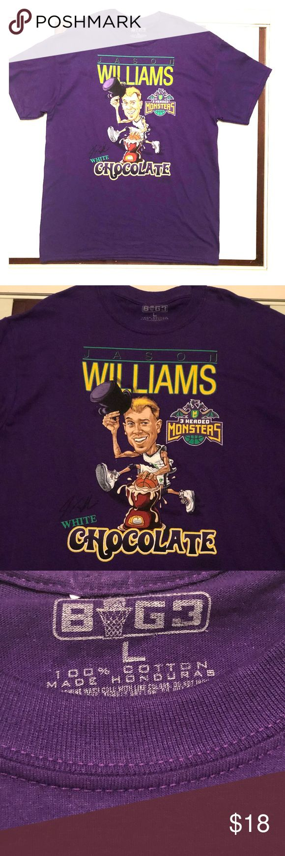 "🏀Former NBA player cartoon Tshirt🏀 Final Price‼️ Vintage style animated T-shirt of former NBA player Jason ""White Chocolate"" Williams now playing in the ""Big 3""...... 3 on 3 tournament. Shirts Tees - Short Sleeve"