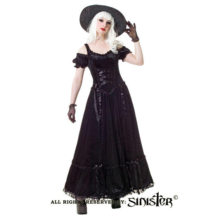 Long black velvet gothic flower dress by Sinister (429) www.sinister.nl