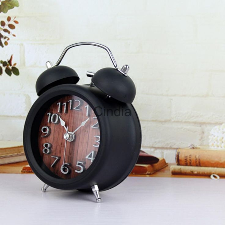Old Fashioned Metal Non-Ticking Twin Bell Alarm Clock With Nightlight G