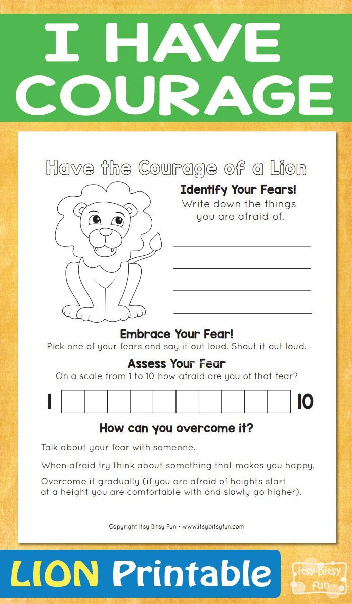 I Have Courage Lion Printable - itsybitsyfun.com   Social skills lessons [ 1200 x 700 Pixel ]