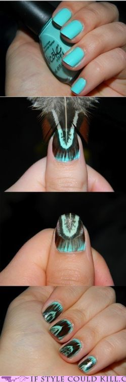 Plumage Pour Moi: Peacock Feathers, Teal Colors, Idea, Nails Art, Peacock Nails, Nails Design, Feathers Manicures, Feathers Nails, Nails Tutorials