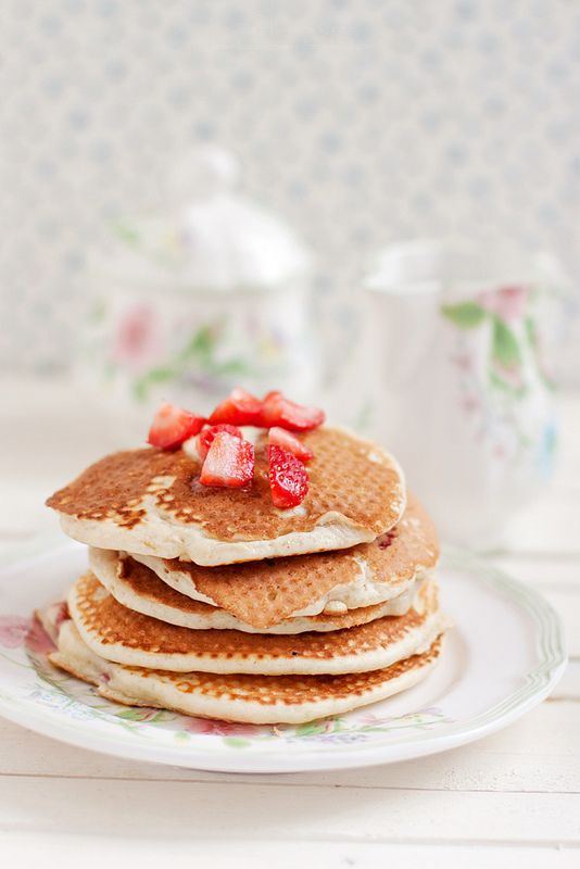 Breakfast. Strawberries Buttermilk Pancakes