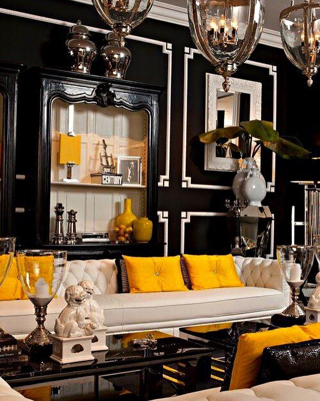 Arianne Scheffer On Instagram Black And White Living Room With Yellow Accents To Br Regency Living Room Hollywood Regency Living Room Hollywood Regency Decor