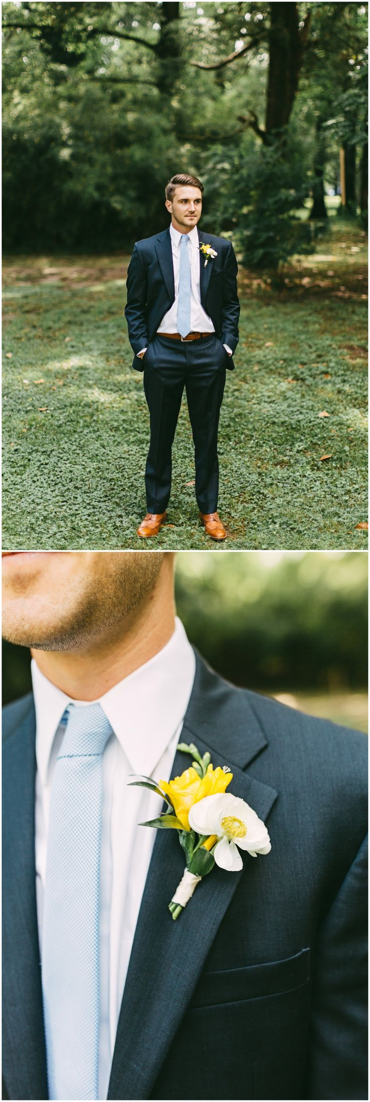 Light blue tie, yellow floral bout, brown shoes, stylish groom, navy suit // Kelly Ginn Photography