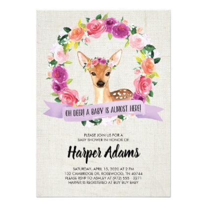 Oh Deer Watercolor Woodland Deer Baby Shower Card Baby Gifts