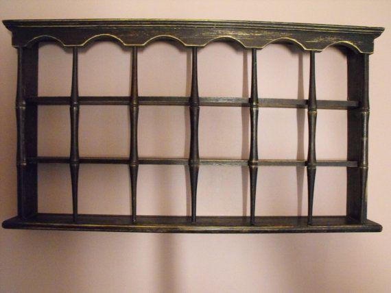 Vintage Primitive Plate Rack Tea Cup Shelf by GracieLynnBoutique