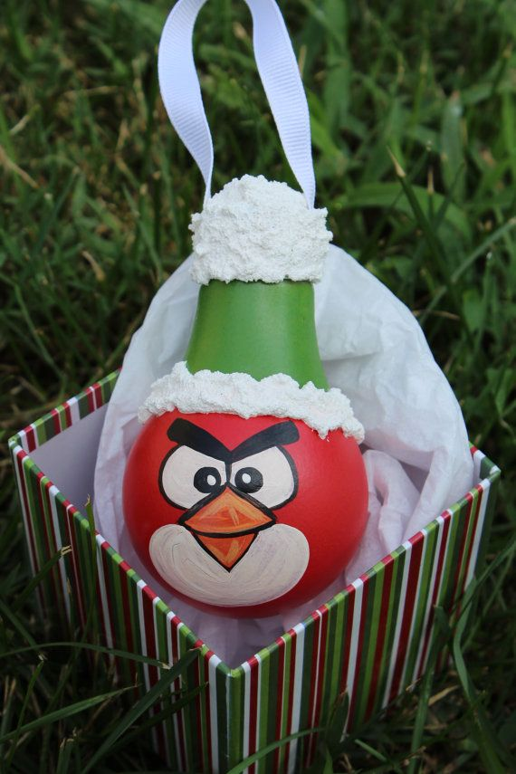 Red Angry Bird Light bulb Ornament by