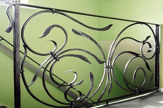 Best H3 Wind Swirl Contemporary Metal Stair Railings Metal 640 x 480