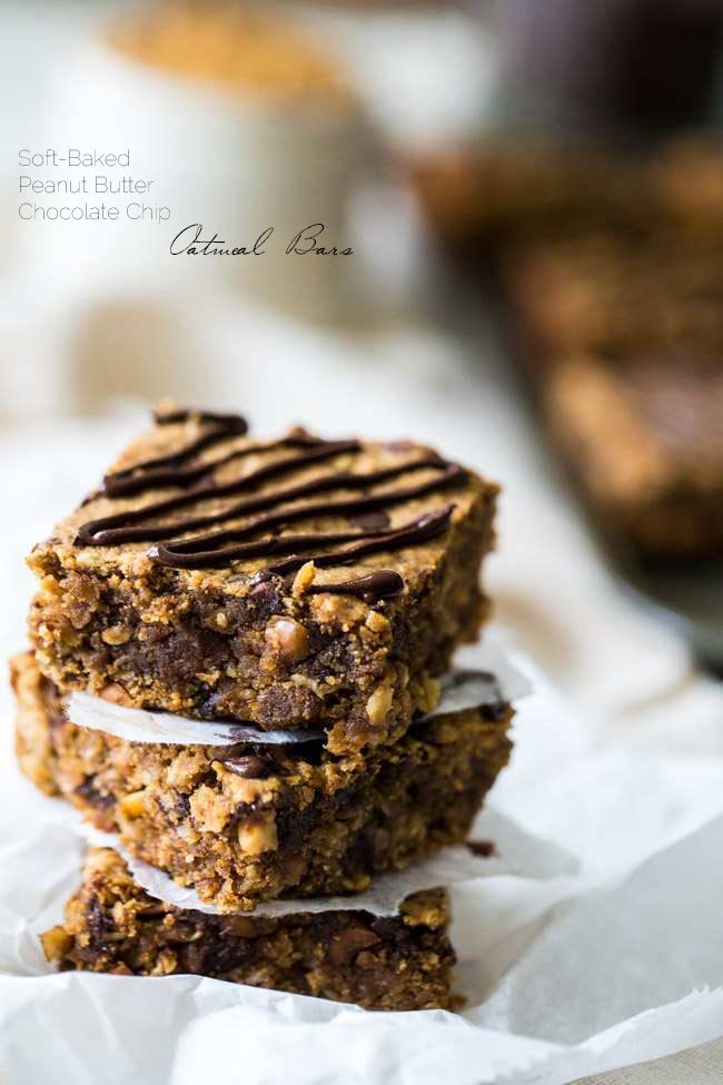 Chocolate Peanut Butter Oatmeal Breakfast Bars - Tastes like store bought but are high protein, gluten free and have no refined sugar, butter or oil! | Foodfaithfitness.com | @FoodFaithFit