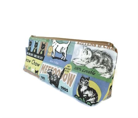 Cool Cat Make-up Zipper Pouch // Stationery Pencil Case