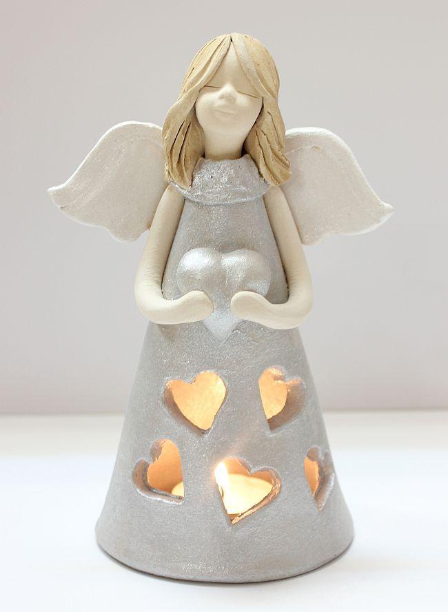Svícen na čajovou svíčku-Andělka stříbrná