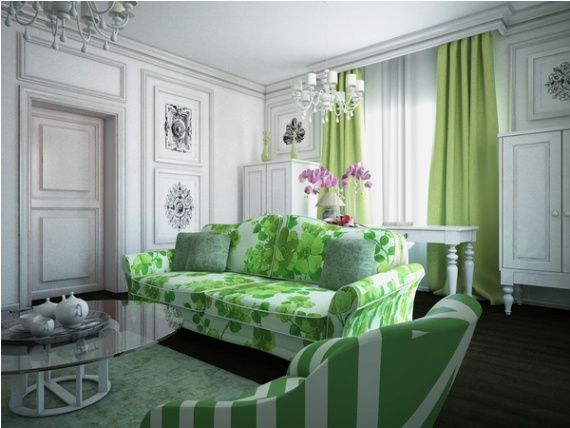 I Like This Olive And White Room Because It Is Very In Touch With Nature