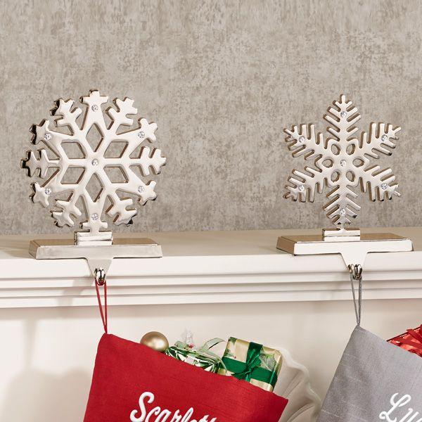 Silver Snowflake Stocking Holder Set By Kurt Adler Stocking Holders Christmas Stocking Holders Christmas Stockings Personalized