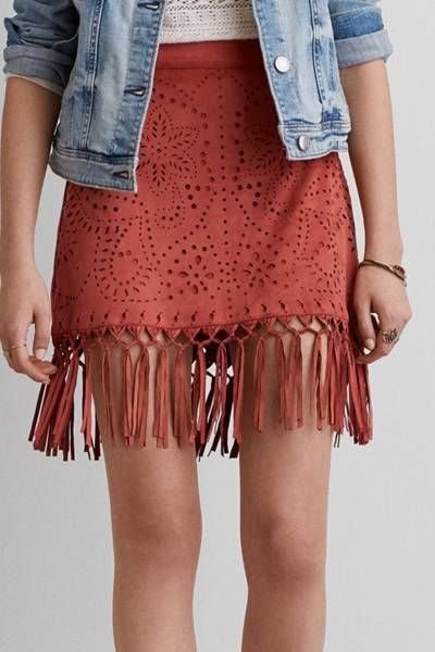 AEO Faux Suede Fringe Skirt by AEO | On the fringe: Draw attention to the details with this season's must-have fringe finishing touches.  Shop the AEO Faux Suede Fringe Skirt and check out more at AE.com.