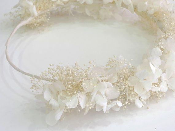 Strass blanc Hortensia - diadème de fleurs naturelles - Bridal crown - Floral bridal tiara-Première Communion