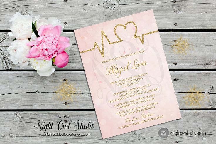 Nursing Graduation Invitation, Medical Graduation Invite, Grad Invitation, Grad Invite, Gold, Glitter, Pink Bokeh by NightOwlStudioDesign on Etsy