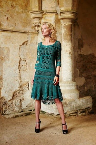 Outstanding Crochet: Gray-Green Crocher Dress with some charts.