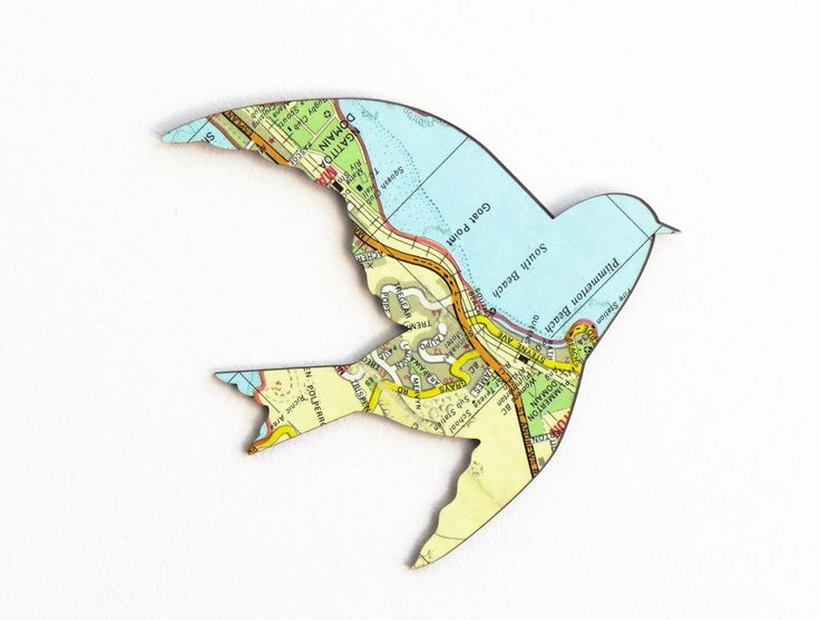 Set of 3 flying birds WallArt - Vintage 1970s NZ Maps | Felt
