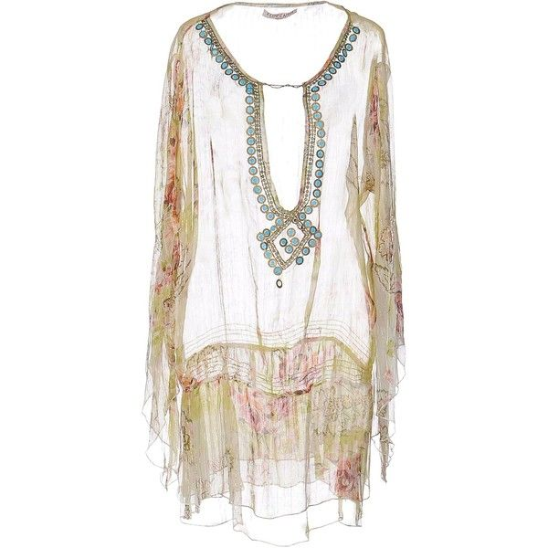 Florentia Kaftan (350 BRL) ❤ liked on Polyvore featuring tops, tunics, acid green, white chiffon top, kaftan tunic, white long sleeve tunic, white kaftan and white tunic