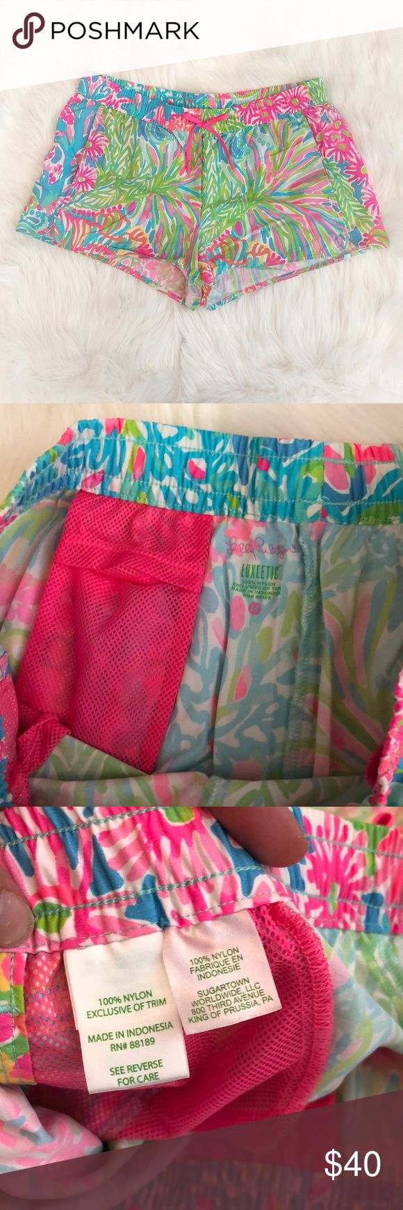 Lilly Pulitzer Luxletic Lovers Coral Shorts Worn once. Very Vibrant and comfortable! Size medium. Coming from a pet friendly home! Lilly Pulitzer Shorts