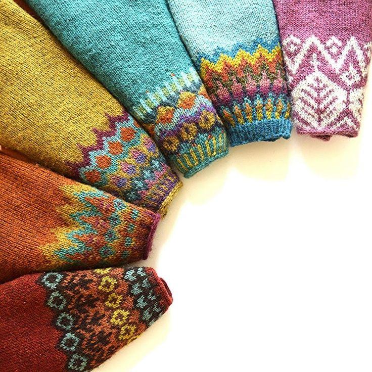 """""""Rainbow of handknit lopapeysas! patterns: Red- Grettir by Jared Flood/Brooklyn Tweed Rust/orange- Genser Med Rund Sal by Sadnes Design Gold- Anna's…"""""""