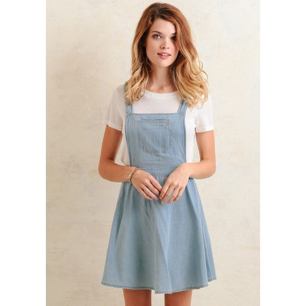 Ruche Hampshire Chambray Overall Dress ($49) found on Polyvore featuring dresses, light blue, flared dress, ruching dress, light blue skater dress, open back dress and pink skater dress