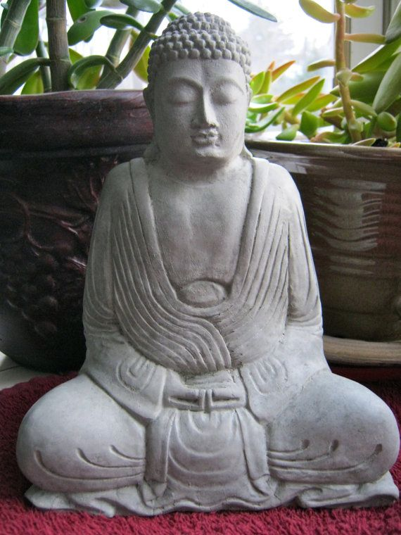 Buddha Statue Robed Buddhist Concrete Figure by WestWindHomeGarden