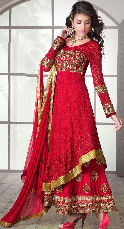 Eid Special Crimson Designer Churidar Suit