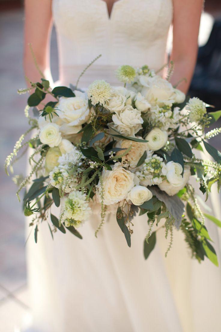 White Patience Garden Rose bridal bouquet of kiera garden roses, light pink ranunculus, white