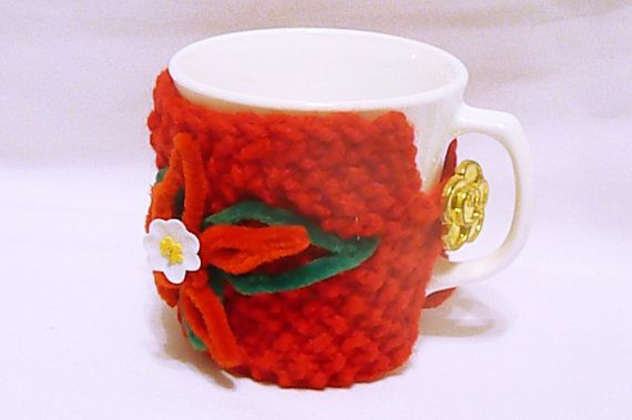 Christmas mug holder poinsettia cup cozy holiday by HandmadeTrend
