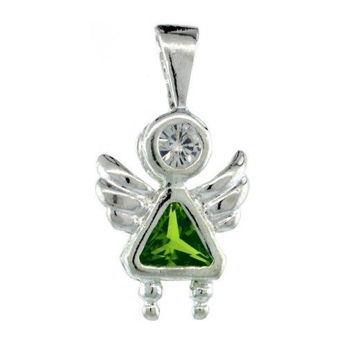 Sterling Silver August Birthstone Angel Pendant w/ Peridot Color Cubic Zirconia Sabrina Silver. $15.95