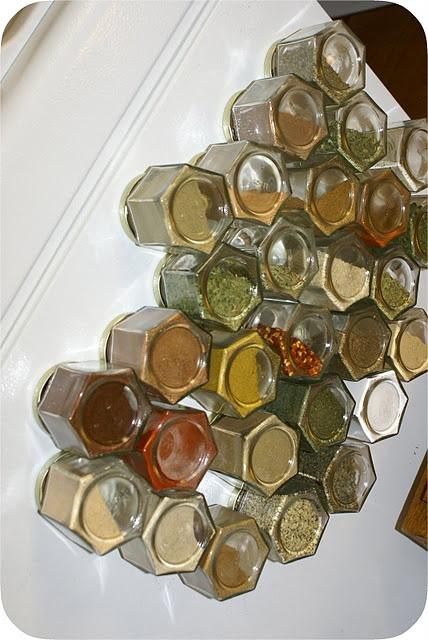Magnetic spice jars for fridge - another idea for spices!! I have so many in my cabinets and I am always looking for something!