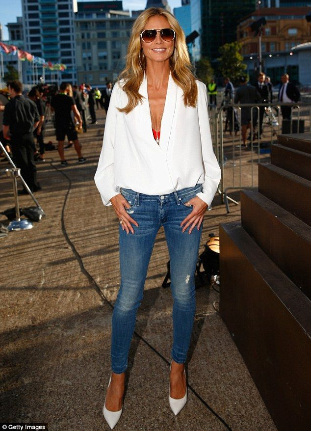 Need this shirt! Looking good: Heidi Klum made an appearance at the 2015 NRL Season launch in Auckland on W...