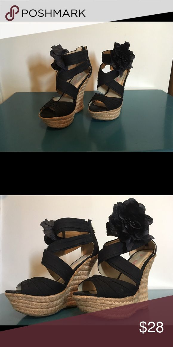 Black wedge platform shoes Worn 2x adorable black platform wedge shoes wth removable flower. JustFab Shoes Wedges