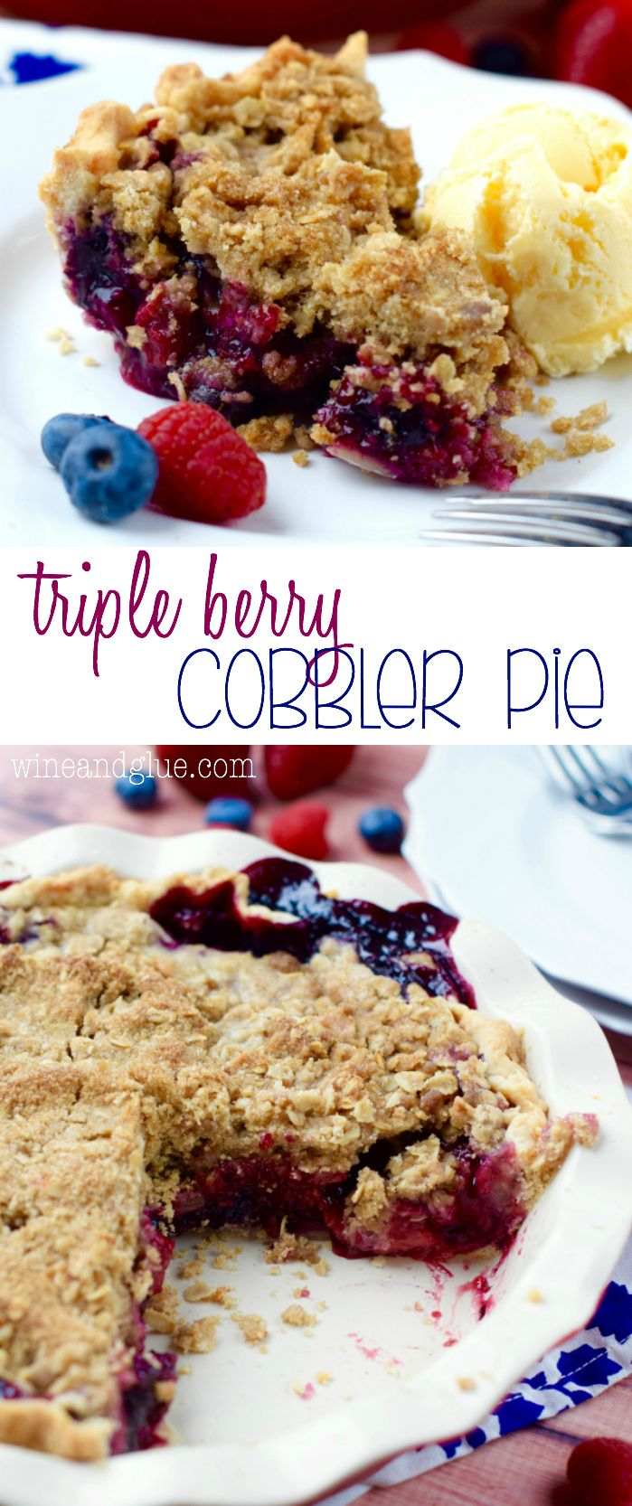 This Triple Berry Cobbler Pie combines the amazing flavors of blueberry, raspberry, and strawberries in an amazing pie with a crumble topping. It's like a cobbler and a pie combined, so good!: