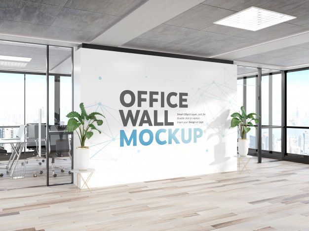 Blank Wall In Bright Wood Office Mockup Wood Office Container House Design Mockup
