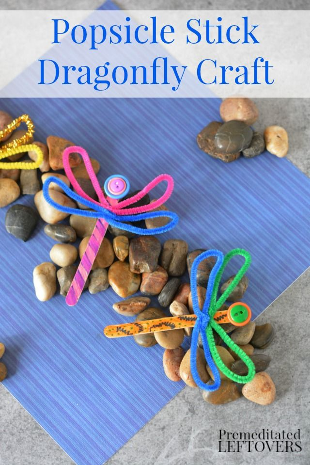 DIY Popsicle Stick Dragonfly Craft with Buttons- This fun and frugal dragonfly activity is a great way to teach kids about the letter D. This kids crafts project is a fun idea for supplementing a study of insects as well!