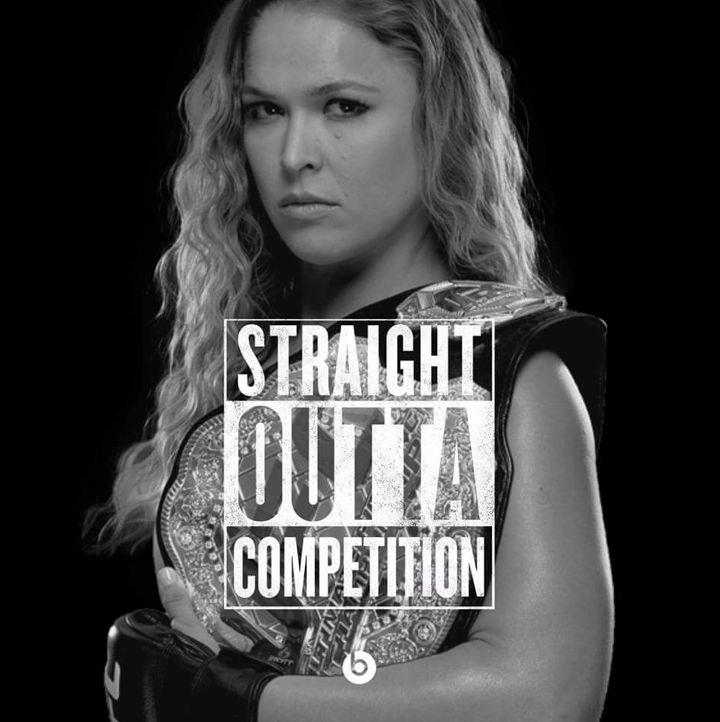 Ronda Rousey Hair and Belt, Straight Outta Compton Meme #straightouttacompton