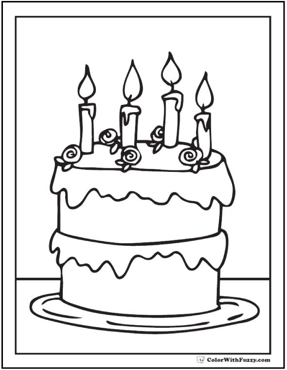 28 Birthday Cake Coloring Pages