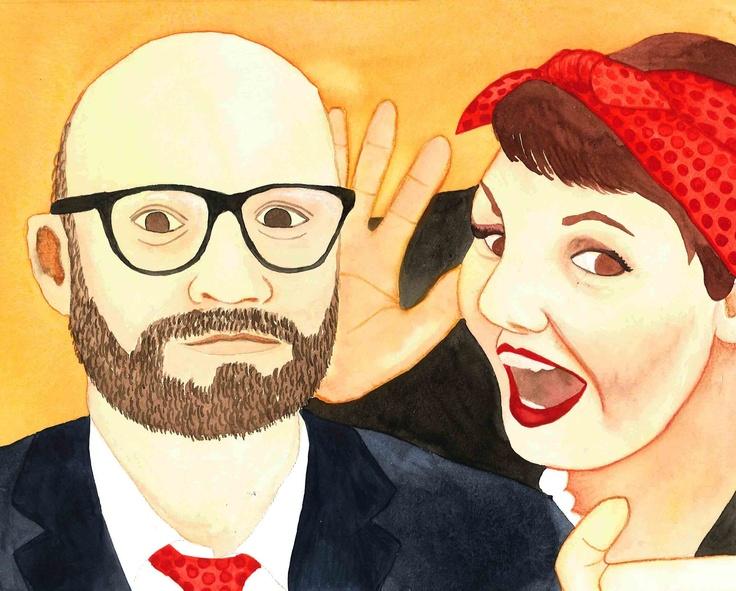 Katie and Jason, 2012. By Marama Mayrick. Watercolour