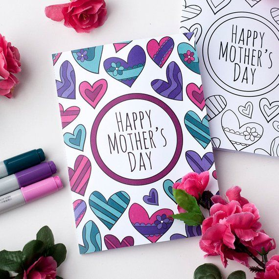 Mother S Day Printable Coloring Card A Printable Greeting Card To Color For Mother S Day Printable Pdf Mother S Day Card Template In 2021 Mothers Day Card Template Mothers Day Coloring