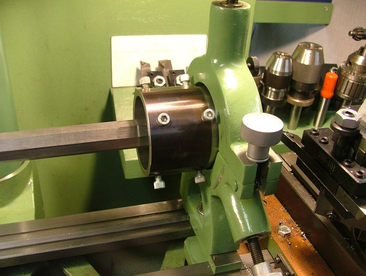 """South Bend Steady Rest on a Maximat Lathe by Jose Rivera -- Homemade adaptation of a South Bend-type steady rest to a Maximat V10 lathe, including compensation for the .750"""" offset of the spindle from the ways. http://www.homemadetools.net/homemade-south-bend-steady-rest-on-a-maximat-lathe"""