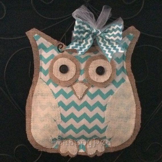 Owl Door Hanger Turquoise Chevron Burlap Owl Door by SnappyPea