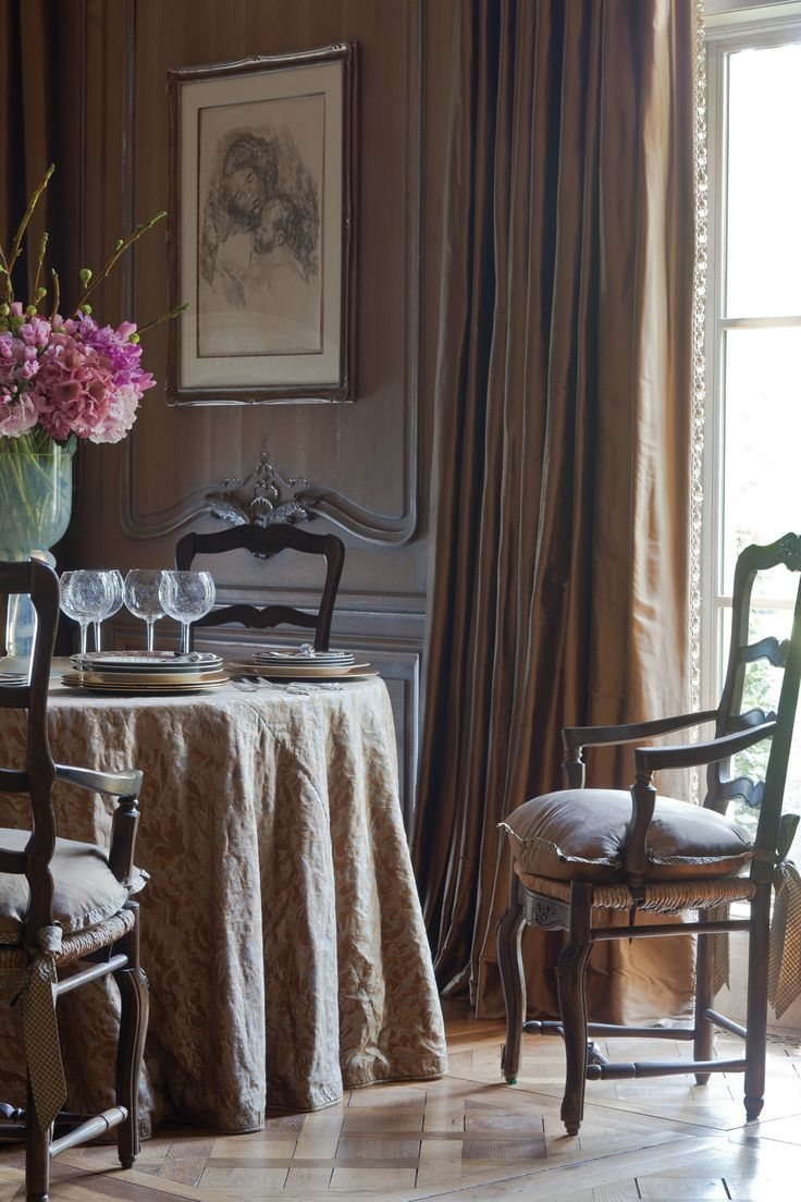 Fortuny Fabrics Influencing Southern Style Brown Dining RoomsFrench