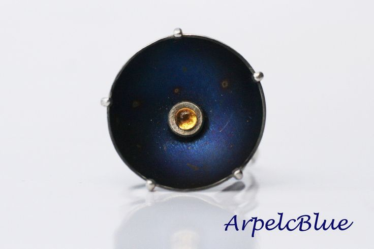 Midnight blue titanium ring, November birthstone from Arpelc Blue Titanium Jewelry by DaWanda.com
