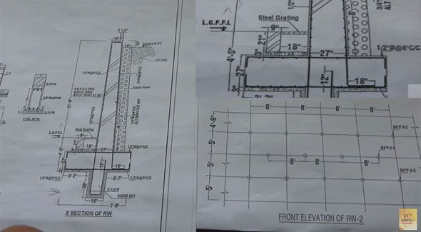 How To Read The Structural Drawing In A Jobsite For Retaining Wall Foundation Structural Drawing Retaining Wall Construction Section Drawing