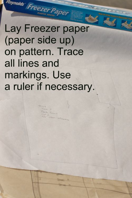 I find that using Freezer Paper when sewing from a pattern makes life a little easier.   You don't have to cut up your pattern piece You don't need to pin the pattern or use paper weights to cut it out You can easily reuse the traced pattern piece saving valuable time So, here's how it's done!